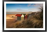 Beach Hut view, Framed Mounted Print