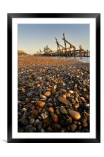 Pebble and  Wood Sea Defence, Framed Mounted Print