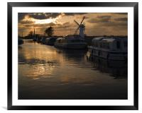 Pleasure cruisers at Thurne Staithe, Framed Mounted Print