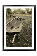 Wheelbarrow and wooden rake, Framed Mounted Print