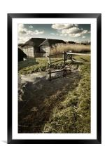 Thatched boat sheds on Hickling Broad, Framed Mounted Print