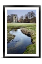Walsingham Abbey and stream, Framed Mounted Print