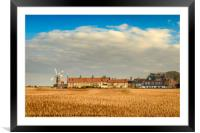 Cley Mill over the fields, Framed Mounted Print