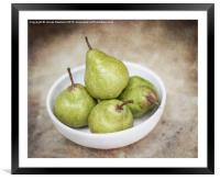 Green Pears in a Bowl, Framed Mounted Print