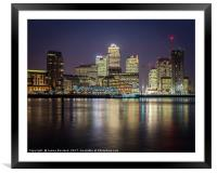 Canary Wharf by Night, Framed Mounted Print
