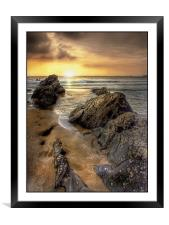 Sunset in Cornwall, Framed Mounted Print