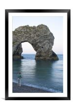 Man fishing at Durdle Door near Lulworth cove., Framed Mounted Print