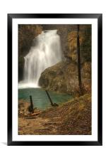 Sum Waterfall in Vintgar Gorge, near Bled, Sloveni, Framed Mounted Print