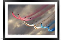 Red Arrows smoke trails, Framed Mounted Print