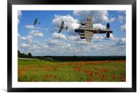 Lancaster Spitfire and poppy Field, Framed Mounted Print