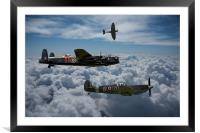 Lancaster with Spitfire escort, Framed Mounted Print