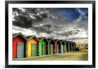 Beach Huts in Colour, Framed Mounted Print
