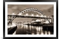 The Bright Lights of Newcastle Upon Tyne, Framed Mounted Print
