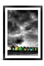 Stormy Beach Huts, Framed Mounted Print