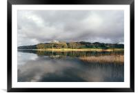 Sunlight and reflections on Esthwaite Water., Framed Mounted Print