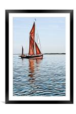 Thames barge reflection 2, Framed Mounted Print