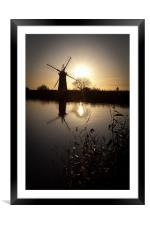 Windmill on river Thurne, Framed Mounted Print