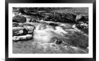The East Lyn River at Lynmouth, b+w, Framed Mounted Print