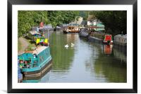 Narrowboats on the Grand Union Canal, Framed Mounted Print