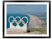 Chesil Beach and Olympic Rings, Framed Mounted Print