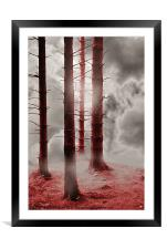 Forest Trees in Red, Framed Mounted Print