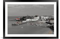 Tenby. B+W with Colour., Framed Mounted Print
