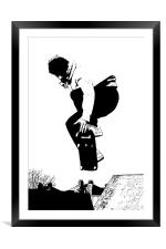 Skateboarder, Framed Mounted Print