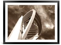 Spinnaker Tower - Close side view in sepia, Framed Mounted Print