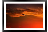 Helicopter At Sunset, Framed Mounted Print