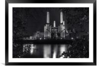 Battersea Power Station at night (mono), Framed Mounted Print