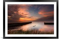 Aberystwyth harbour mouth, Framed Mounted Print