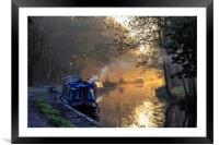 Kennet narrow boats, Framed Mounted Print