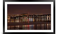 Dundee Tay Bridge at Night, Framed Mounted Print