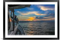 Dawn breaks on the way back to port, Framed Mounted Print