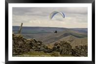 Paraglider over Rushup Edge, Framed Mounted Print