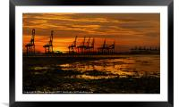 Sunset At The Port Of  Felixstowe, Framed Mounted Print