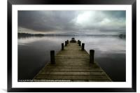 Wooden Jetty on Lake Windermere Cumbria, Framed Mounted Print