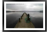 Wooden Jetty on a Grey Lake Windermere, Framed Mounted Print