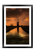 Horsey Mill At the End Of The Day, Framed Mounted Print