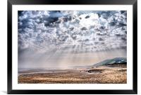 Heavenly Rays at Sandsend Beach, Framed Mounted Print