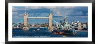 Tower Bridge and HMS Belfast, Framed Mounted Print
