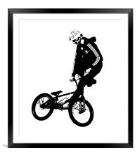 BMX Rider in Black, Framed Mounted Print
