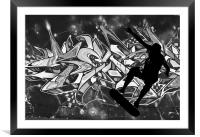 Skateboarder with Graffitti Background, Framed Mounted Print