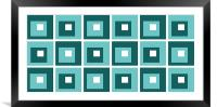 Retro Cubed Blue, Framed Mounted Print