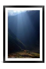 Fields Highlighted by Sunlight Pisang, Nepal, Framed Mounted Print