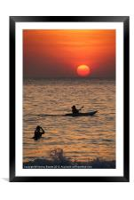 Kayaking at Sunset Palolem, Goa, India, Framed Mounted Print