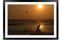 Playing in the Sea at Sunset Mandrem, Framed Mounted Print