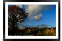 Blue Skies and Clouds above Kent Country Lane and , Framed Mounted Print