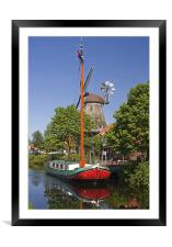 Windmill and Ship, Framed Mounted Print
