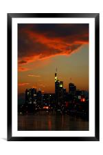 Burning Sky over Skyline, Framed Mounted Print